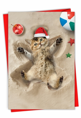 Creative Merry Christmas Card From NobleWorksInc.com - Holiday Sand Angels - Cat