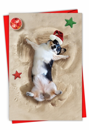 Creative Merry Christmas Card From NobleWorksInc.com - Holiday Sand Angels - Dog