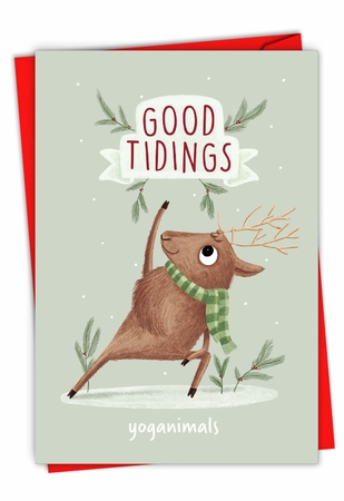 Funny Merry Christmas Card From NobleWorksInc.com - Holiday Yoganimals-Deer