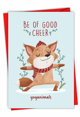 Hysterical Merry Christmas Card From NobleWorksInc.com - Holiday Yoganimals-Fox