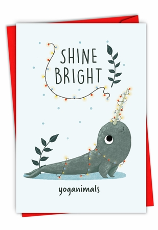 Hilarious Merry Christmas Card From NobleWorksInc.com - Holiday Yoganimals-Narwhal