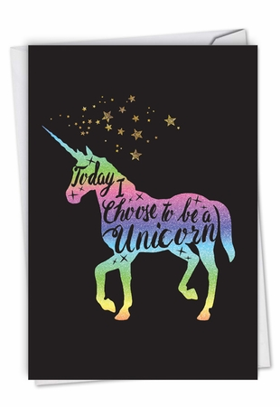 Stylish Birthday Card From NobleWorksInc.com - Horns and Unicorns - Choose To Be