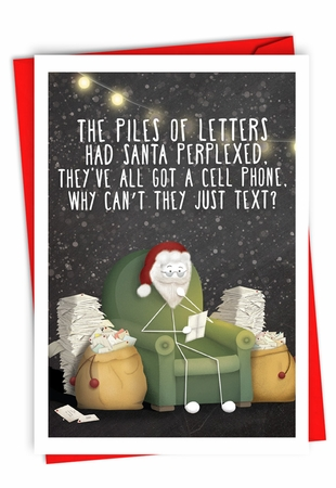 Humorous Merry Christmas Card From NobleWorksInc.com - Just Text Santa