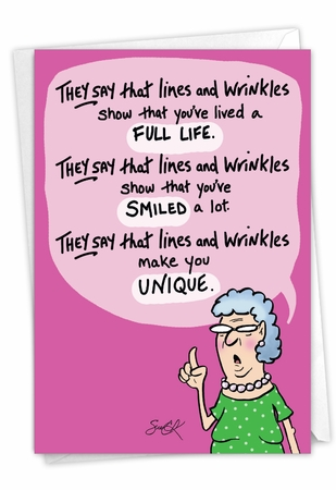 Hilarious Birthday Card From NobleWorksInc.com - Lines and Wrinkles