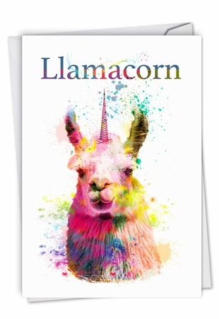 Stylish Birthday Card From NobleWorksInc.com - Llamacorn