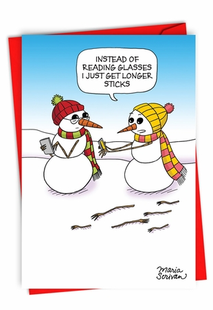 Humorous Merry Christmas Card From NobleWorksInc.com - Longer Sticks