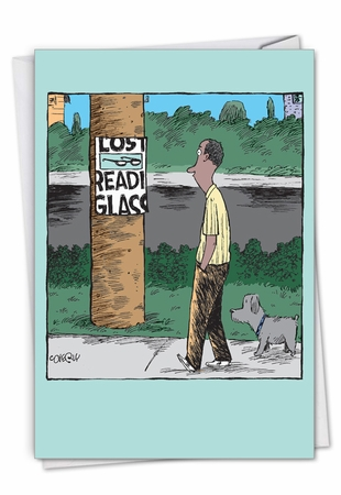 Humorous Birthday Card From NobleWorksInc.com - Lost Reading Glasses