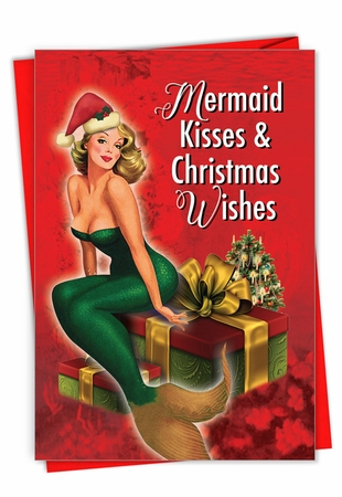 Humorous Merry Christmas Card From NobleWorksInc.com - Mermaid Kisses and Wishes