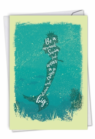 Stylish Birthday Card From NobleWorksInc.com - Mermaid Quotes - Swim Fast