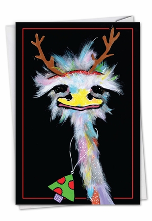 Stylish Merry Christmas Card From NobleWorksInc.com - Merry Ostriches - Necklace