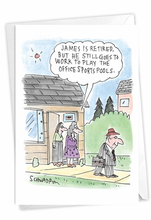 Humorous Retirement Card From NobleWorksInc.com - Office Sports Pool