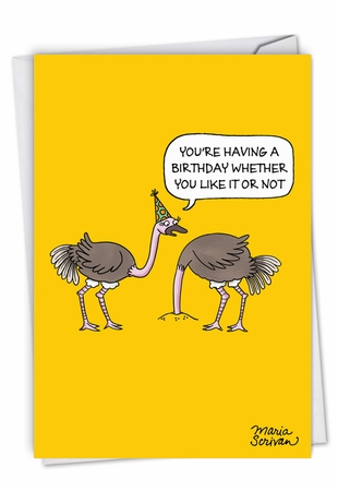 Humorous Birthday Card From NobleWorksInc.com - Ostrich Party