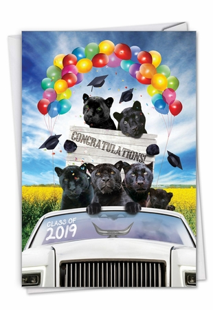 Stylish Graduation Card From NobleWorksInc.com - Panther Mascot - 2019