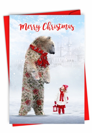 Stylish Merry Christmas Card From NobleWorksInc.com - Patterned Animals - Bear
