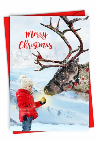 Stylish Merry Christmas Card From NobleWorksInc.com - Patterned Animals - Reindeer
