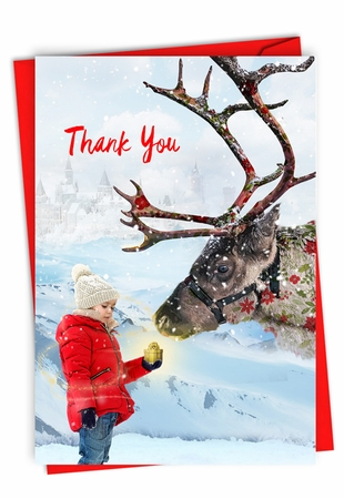 Stylish Christmas Thank You Card From NobleWorksInc.com - Patterned Animals - Reindeer