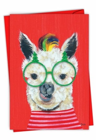 Creative Merry Christmas Card From NobleWorksInc.com - Personality Llamas - Glasses
