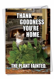 Plant Fainted-Cat Card