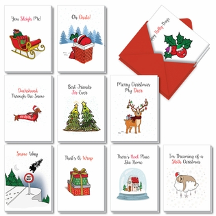Stylish Merry Christmas Assorted Cards From NobleWorksInc.com - Punny Holidays