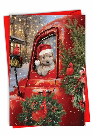 Stylish Merry Christmas Card From NobleWorksInc.com - Red Truck Puppies