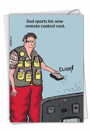 Humorous Father's Day Card From NobleWorksInc.com - Remote Control Vest