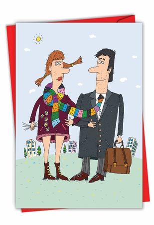 Hysterical Valentine's Day Card From NobleWorksInc.com - Scarf Couple