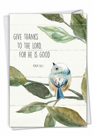 Stylish Thank You Card From NobleWorksInc.com - Scripture Birds - Psalm 136:1