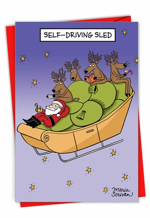 Hilarious Merry Christmas Card From NobleWorksInc.com - Self-Driving Sled