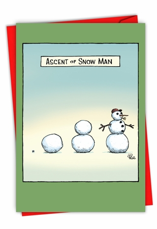Funny Merry Christmas Card From NobleWorksInc.com - Snow Man Ascent