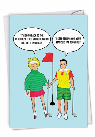Funny Birthday Card From NobleWorksInc.com - Stung Between Holes