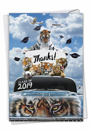 Stylish Graduation Thank You Card From NobleWorksInc.com - Tigers Mascot - 2019