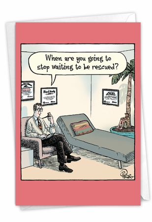Humorous Belated Birthday Card From NobleWorksInc.com - Waiting To Be Rescued