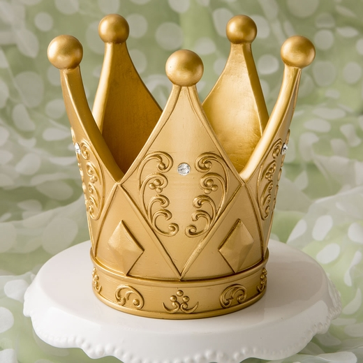 6 Inch Tall Ornate Crown Themed Gold Centerpiece