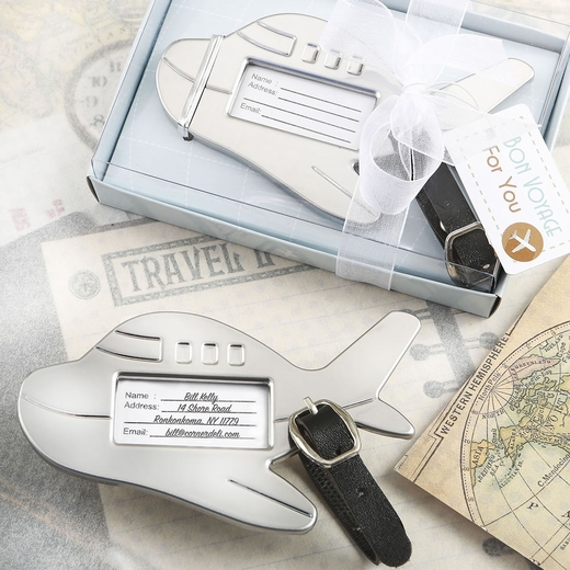 Adorable Silver Metal Airplane Luggage Tag