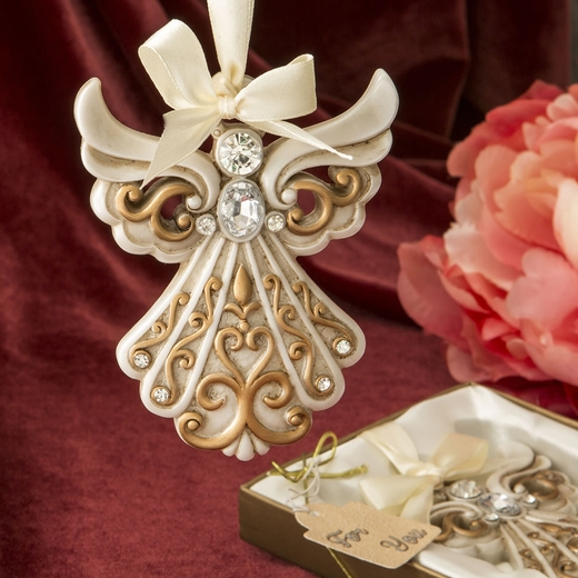 Antique Ivory Angel Ornament with A Matte Gold Filigree Detailing
