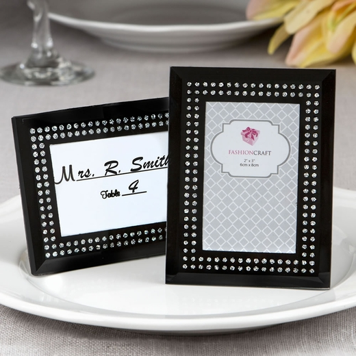 Black Frosted Glass Picture Frame / Placecard Holder