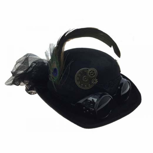 Black Steam Punk Derby Hat With Goggles