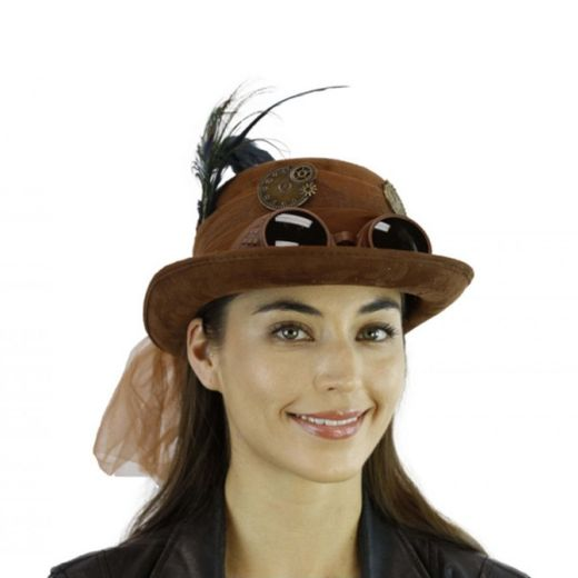 Brown Steam Punk Derby Hat With Goggles