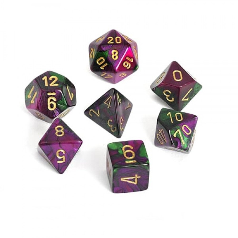 Gemini Green Purple With Gold Polyhedral 7 Die Set