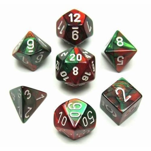 Chessex - Gemini Green Red With White Polyhedral 7 Die Set