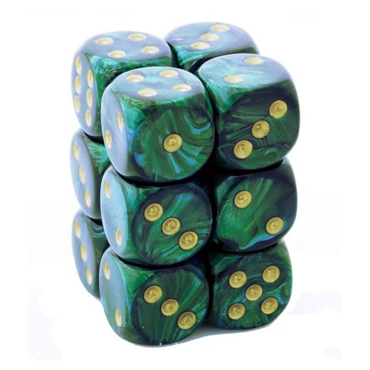 Chessex Jade With Gold Scarab Dice 16mm D6 Block