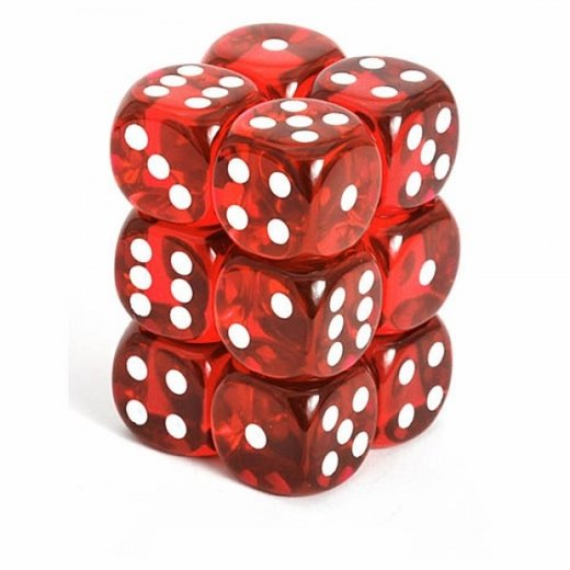 Chessex - Translucent 16mm D6 Dice Blocks Red With White