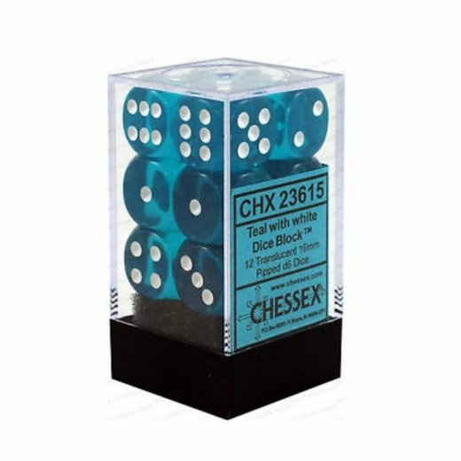 Chessex - Translucent 16mm D6 Dice Blocks Teal With White
