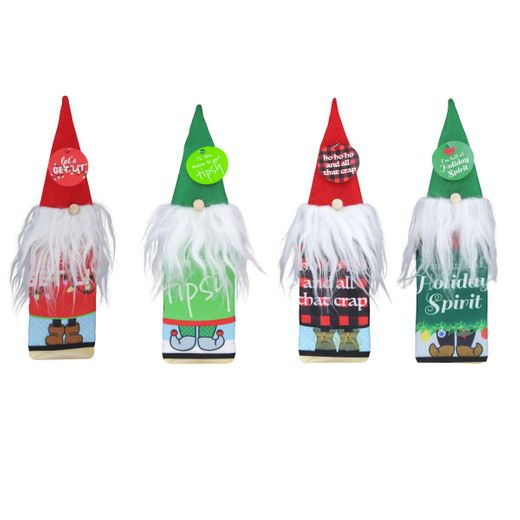 Christmas Naughty Gnome Bottle Wrap