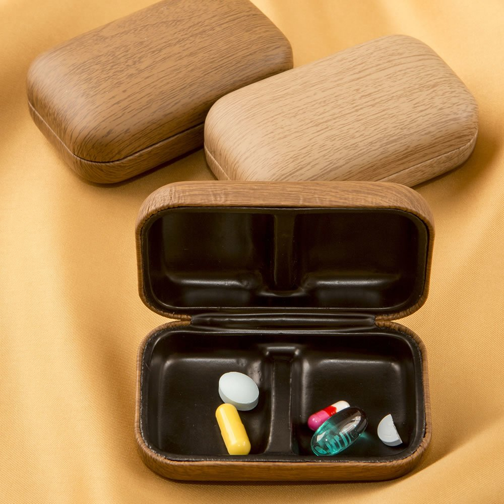 Deluxe Wood Grain Finish Men's Pill Box