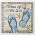 Down By The Sea Blue Flip Flops Wood Wall Plaque