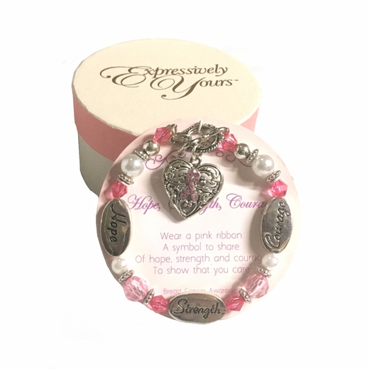 Expressively Yours Pink Ribbon Bracelet And Gift Box