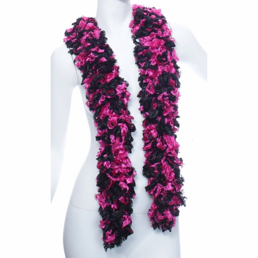 Faux Black And Hot Pink Featherless Boa (6', 185 grams)