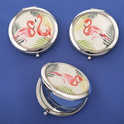 Flamingo Compact Mirrors 3 Assorted Tropical Designs