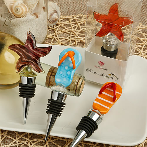 Flip Flop and Star Fish Murano Glass Bottle Stoppers